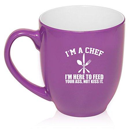 16 oz Large Bistro Mug Ceramic Coffee Tea Glass Cup Chef Here To Feed You (Purple)