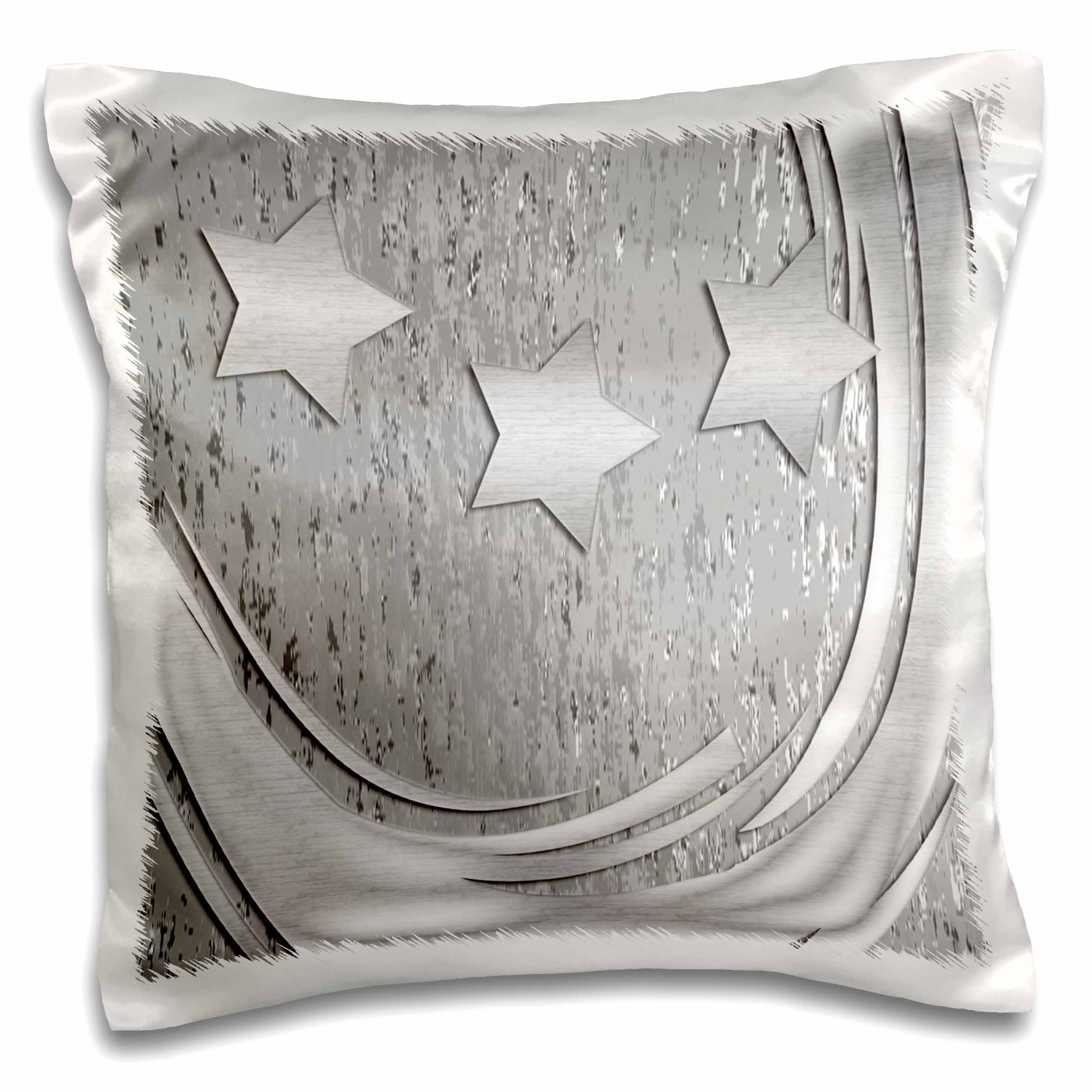 3dRose Three Silver Stars with Swirl, Pillow Case, 16 by 16-inch