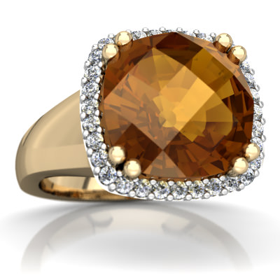 Citrine Halo Cocktail Ring in 14K Yellow Gold by