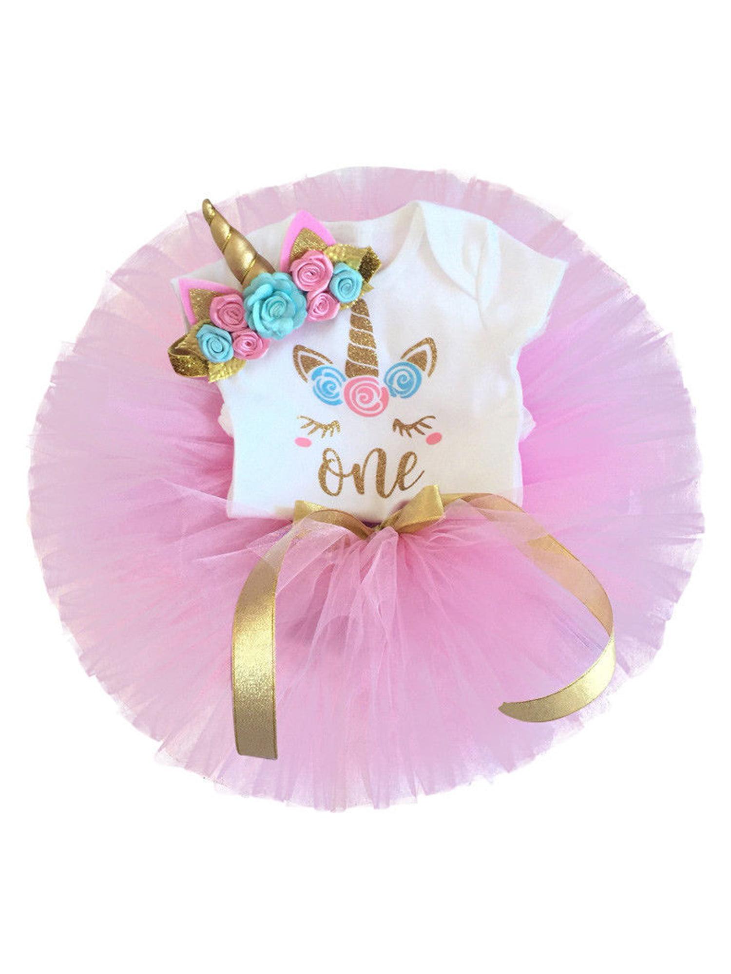 Rainbow Layered Tulle Tutu Skirt Set for Girls 3PCS Unicorn Cotton T Shirt and Headband Princess Dress up Outfits