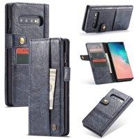 Samsung Galaxy S10 Plus Wallet Case, Retro Leather Folio Flip Case with Credit Card Slots / Money Pocket [Buckle Closure]For Samsung Galaxy S10+ 6.4 inch, Blue