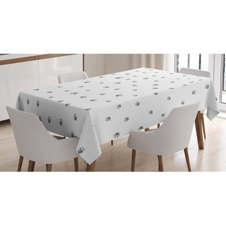 Dog Lover Tablecloth, Foot Prints of an Animal Pet Canine Marks Abstract Nature Themed Illustration, Rectangular Table Cover for Dining Room Kitchen, 52 X 70 Inches, Grey White, by Ambesonne - Animal Print Tablecloth