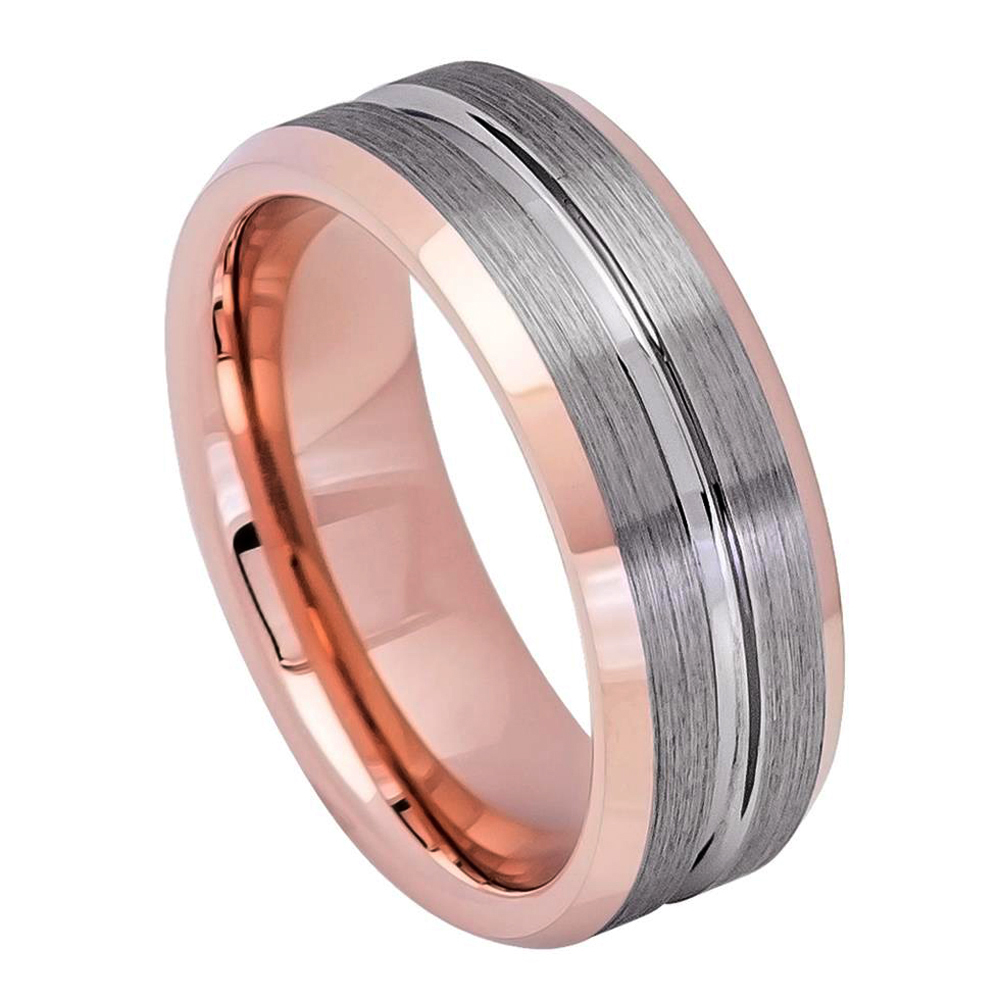 Men Women Tungsten Carbide Wedding Band Ring 8mm Comfort Fit Grooved ...