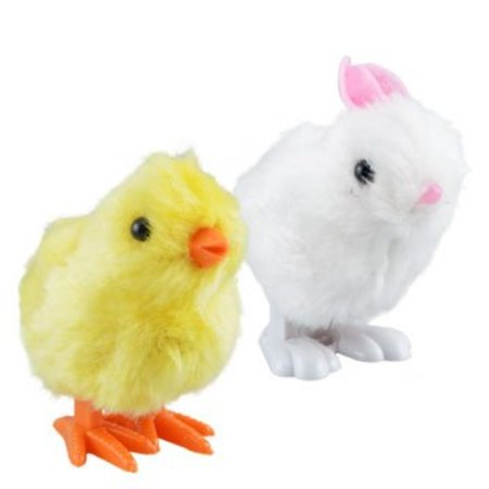 Cheek Bunny - plush pair of hopping wind-up friends! - bunny and chick - combo pack of 2 (colors may vary)