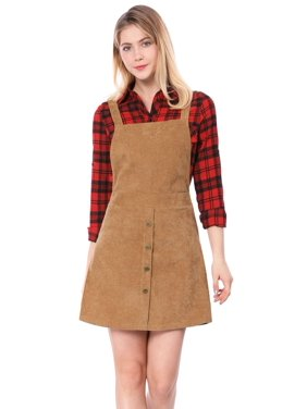 89eb7d5c829d Product Image Women Corduroy Button Decor A Line Suspender Overall Dress  Skirt Brown L (US 14)