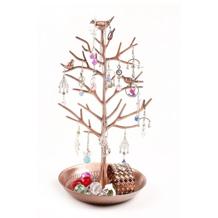 (Dazone Birds Tree Jewelry Stand Display Earring Necklace Holder Organizer Rack Tower(Bronze))