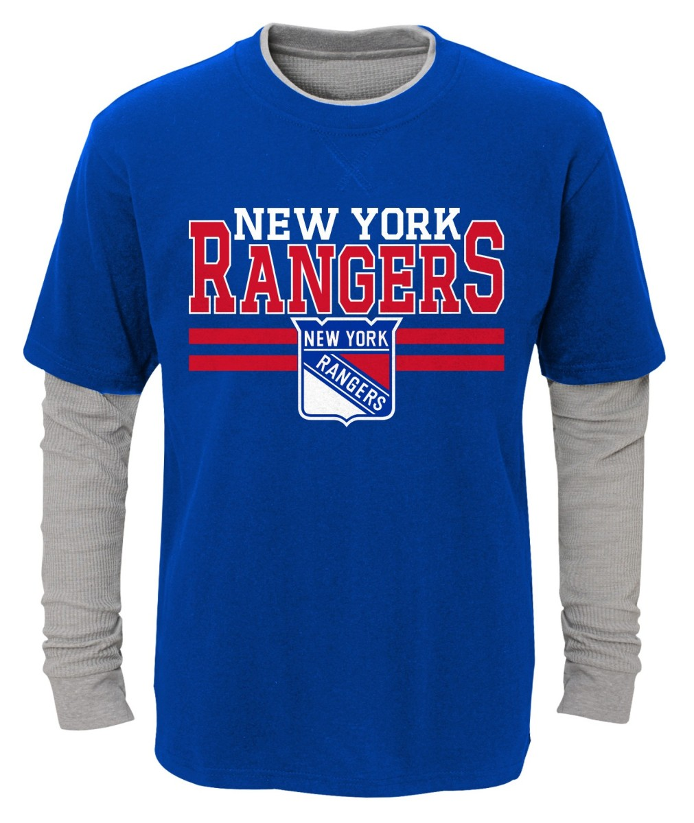 "New York Rangers Youth NHL ""Defensive Pair"" L S Faux Layer Thermal Shirt by Outerstuff"
