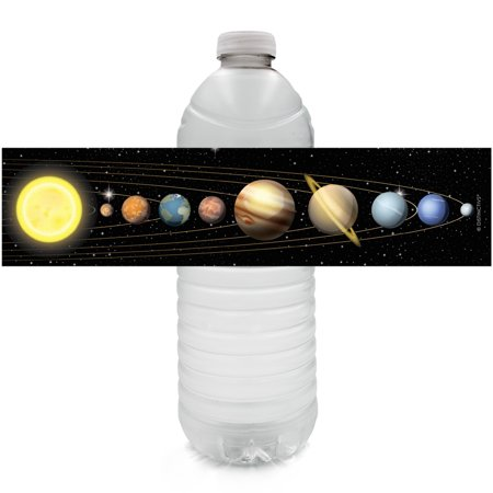 Space Birthday Party (Space Party Water Bottle Labels 24 count - Outer Space Birthday Party Favors Solar System Galaxy Planets Birthday Party Supplies - 24 Count Sticker)