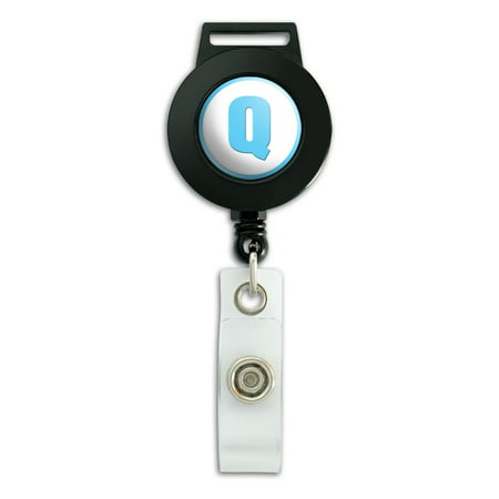 - Letter Q Initial Baby Boy Block Font Blue Shower Retractable Badge Card ID Holder