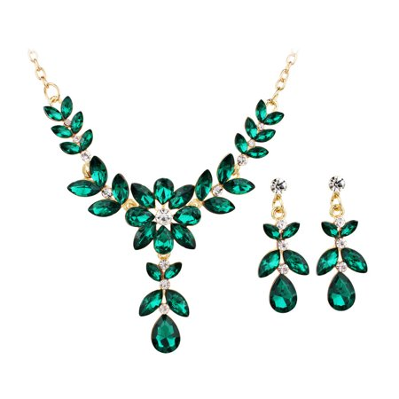 Iuhan Colored Gemstone Flowers Pendant Women's Necklace Ear Studs Suit Jewelry