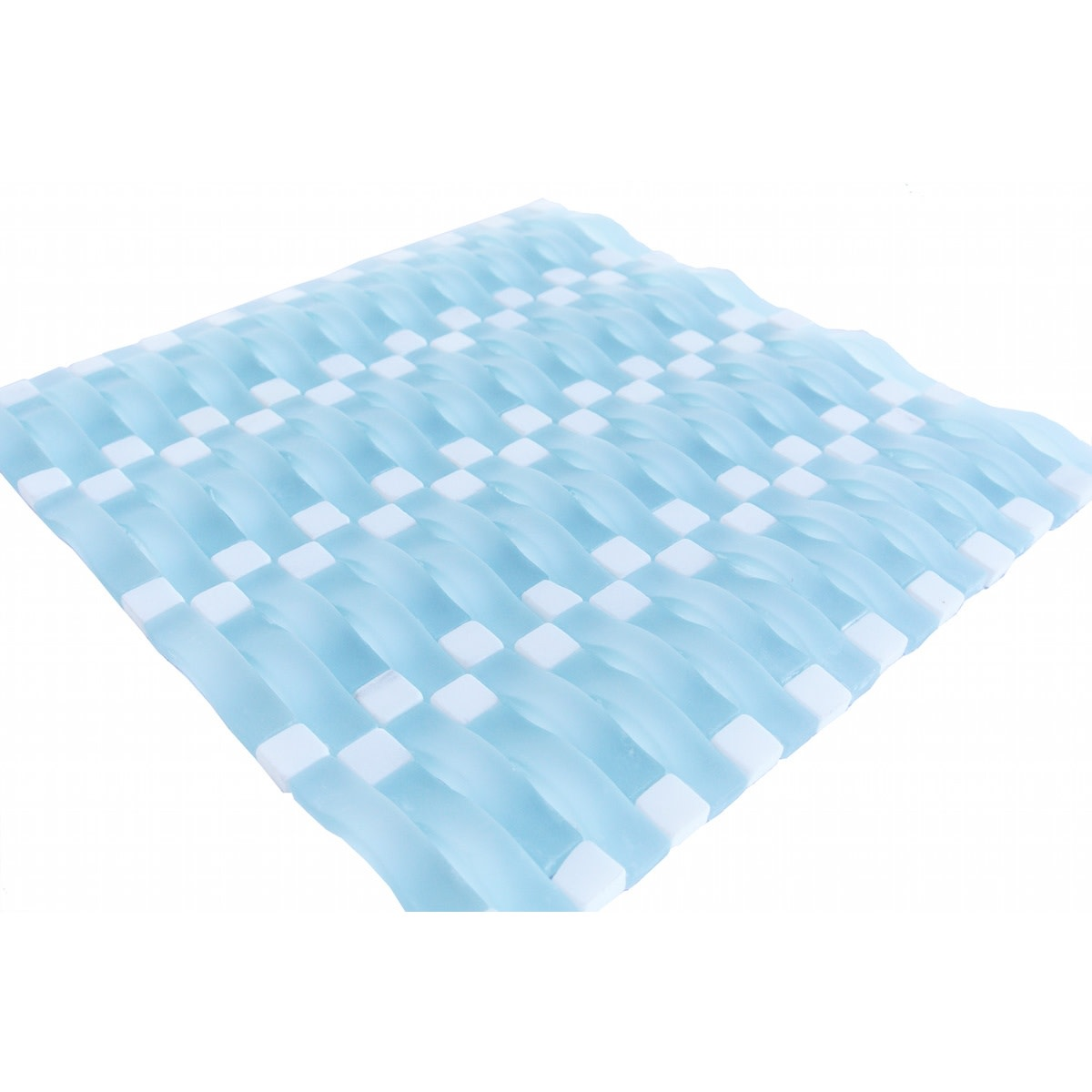 "Abolos- Wave 0.63"" X 2.5"" Glass Mosaic Tile in Artic Blue Matte (8.4sqft / 8pc Box)"