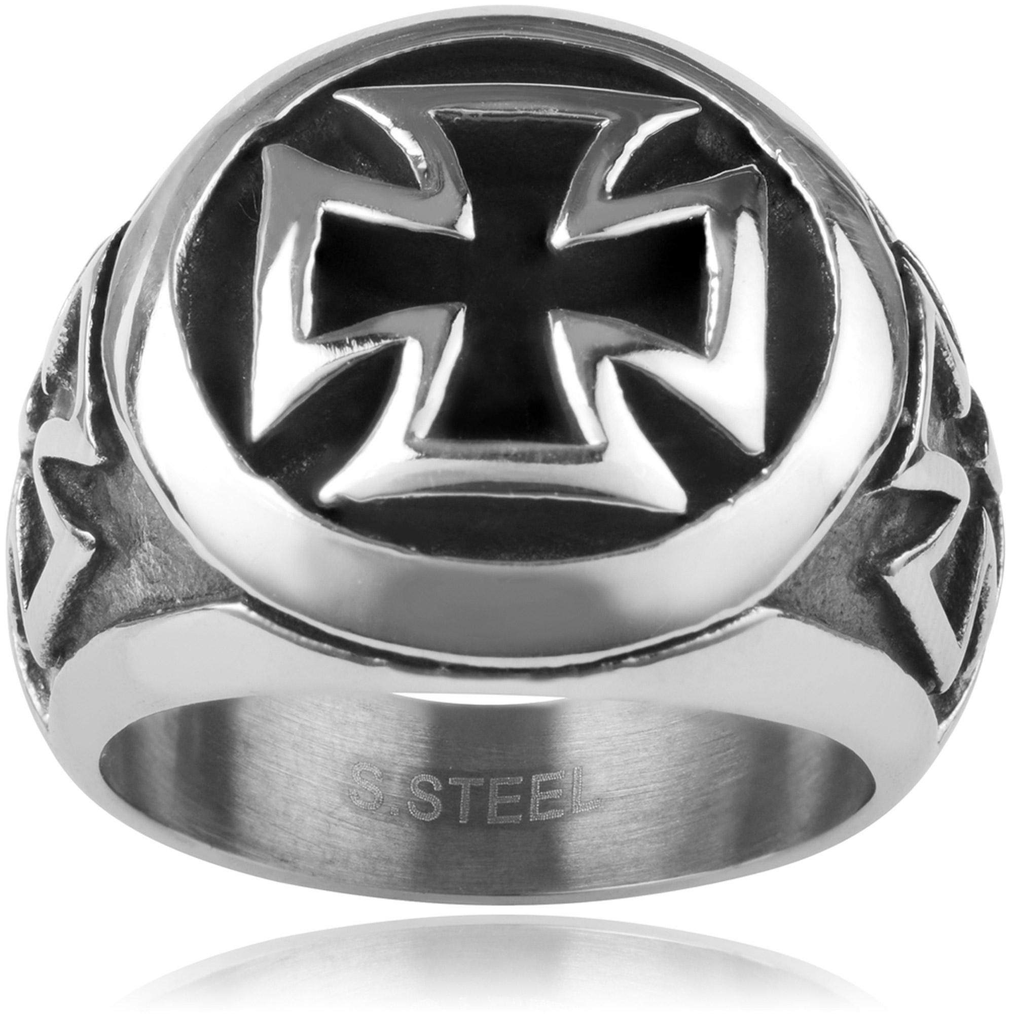 Daxx Men's Stainless Steel Cross Fashion Ring
