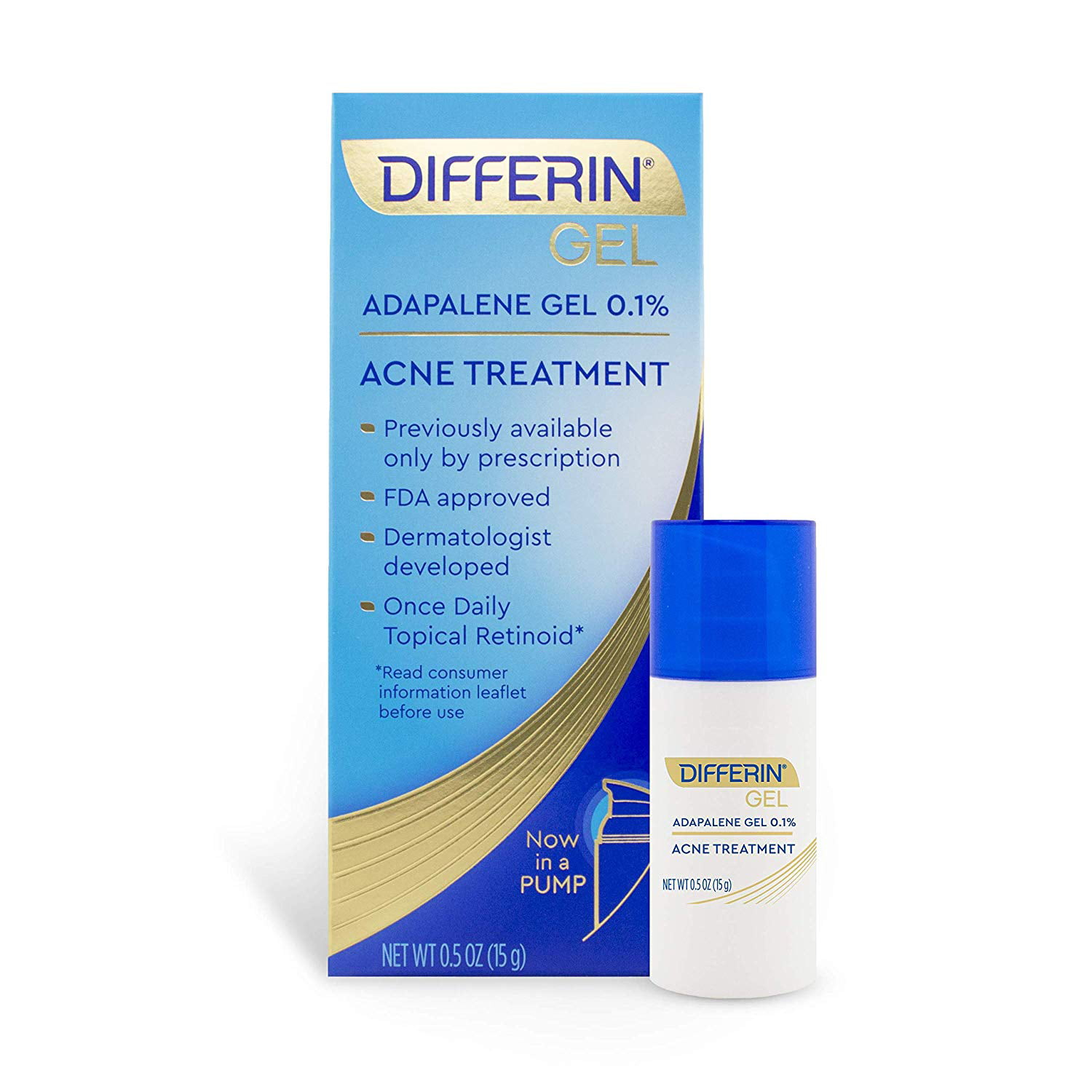 Differin Adapalene Gel 0 1 Acne Treatment 15g 30 Day Supply Pump Walmart Com Walmart Com