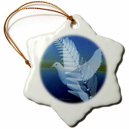 3dRose Silverwing - Fractal Dove - Bird Art - Snowflake Ornament, - Fractal Snowflake