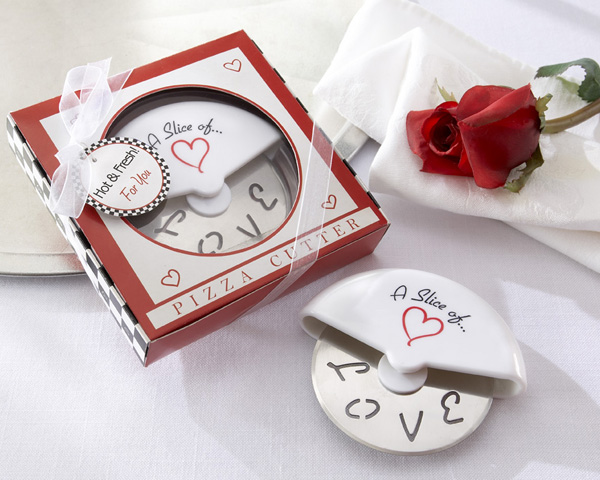 """A Slice of Love"" Stainless-Steel Pizza Cutter in Miniature Pizza Box Set of 12 by Kate Aspen"