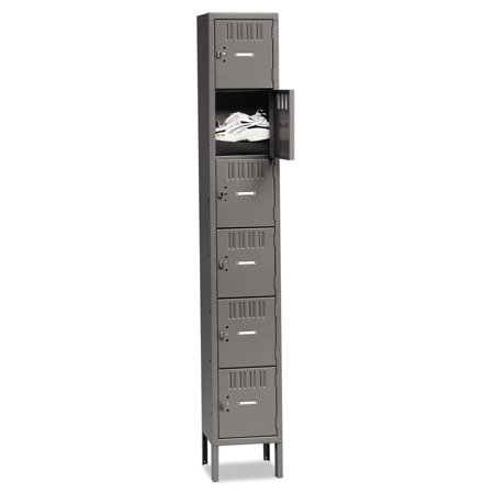 - Tennsco Box Compartments with Legs, Single Stack, 12w x 18d x 78h, Medium Gray