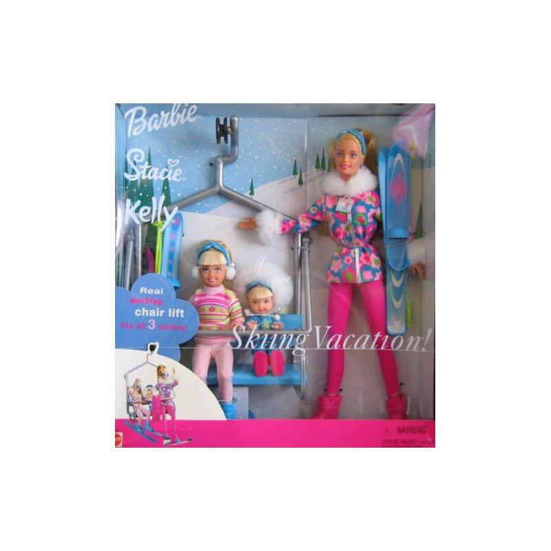 Barbie Stacie Kelly Skiing Vacation Doll Set w Working Ch...
