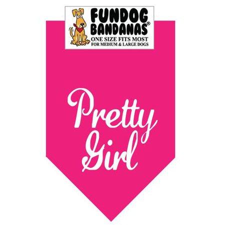 Fun Dog Bandana - Pretty Girl - Taille unique pour Med à Lg Chiens, écharpe animal rose chaud