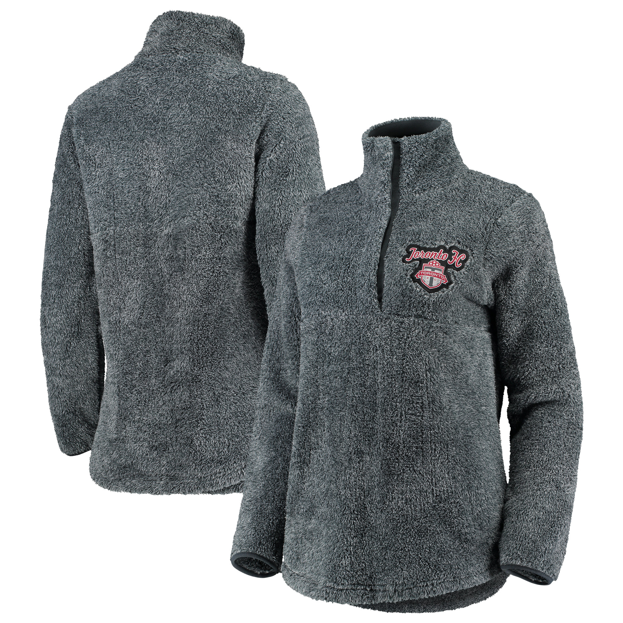 Toronto FC Concepts Sport Women's Trifecta Fluffy Half-Zip Pullover Jacket - Charcoal
