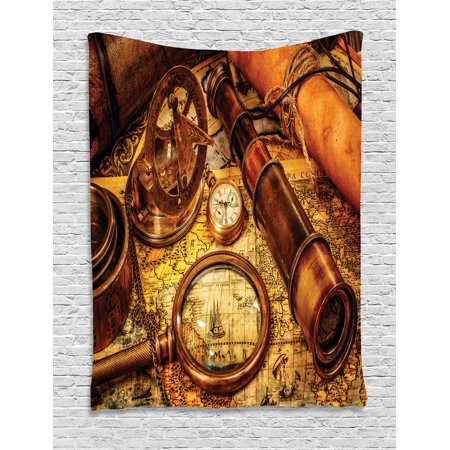Antique Tapestry, Magnifying Glass Compass Telescope and Pocket Watch on an Old Map Nautical, Wall Hanging for Bedroom Living Room Dorm Decor, Orange Brown Yellow, by Ambesonne