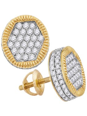 10kt Yellow Gold Mens Round Diamond Circle 3D Cluster Stud Earrings 1-1/10 Cttw Fine Jewelry Ideal Gifts For Women Gift Set From Heart