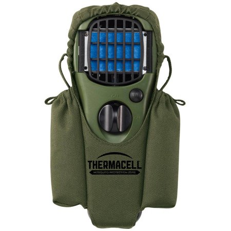 Thermacell Mosquito Repeller Holster With Clip, Olive An essential accessory for your ThermaCELL repellent unit, the ThermaCELL Personal Repellent Holster Accessory with Clip provides a perfect way to bring your odorless, noiseless repellent unit with you on the trail or out onto the lake. The holster is made from soft, 100 percent nylon and is available in either a camouflage or olive green color (subject to availability). A plastic belt clip lets you keep the holster upon your person hands-free while a nylon enclosure loop lets you remove and replace the unit easily. Side pockets let you keep extra cartridges or repellent mats with you at all times. Repellent unit is not included. About ThermaCELL Providing superior protection from mosquitoes, black flies, and other nuisance pests, ThermaCELL products guarantees your outdoor activities won't be hindered by insects.