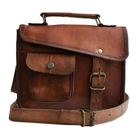 - MNI small Leather messenger bag shoulder bag cross body vintage messenger bag for women & men satchel (9 x 11)
