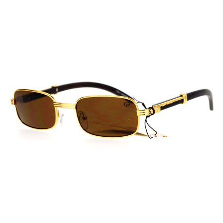 SA106 Retro Art Nouveau Vintage Style Rectangular Metal Frame Sunglasses Gold