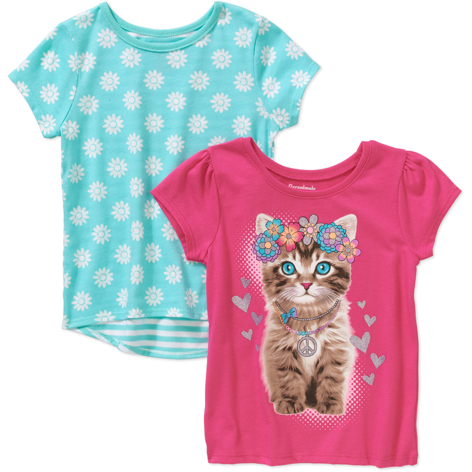 Garanimals Baby Toddler Girl Short Sleeve Graphic Tee & Printed Tee Set
