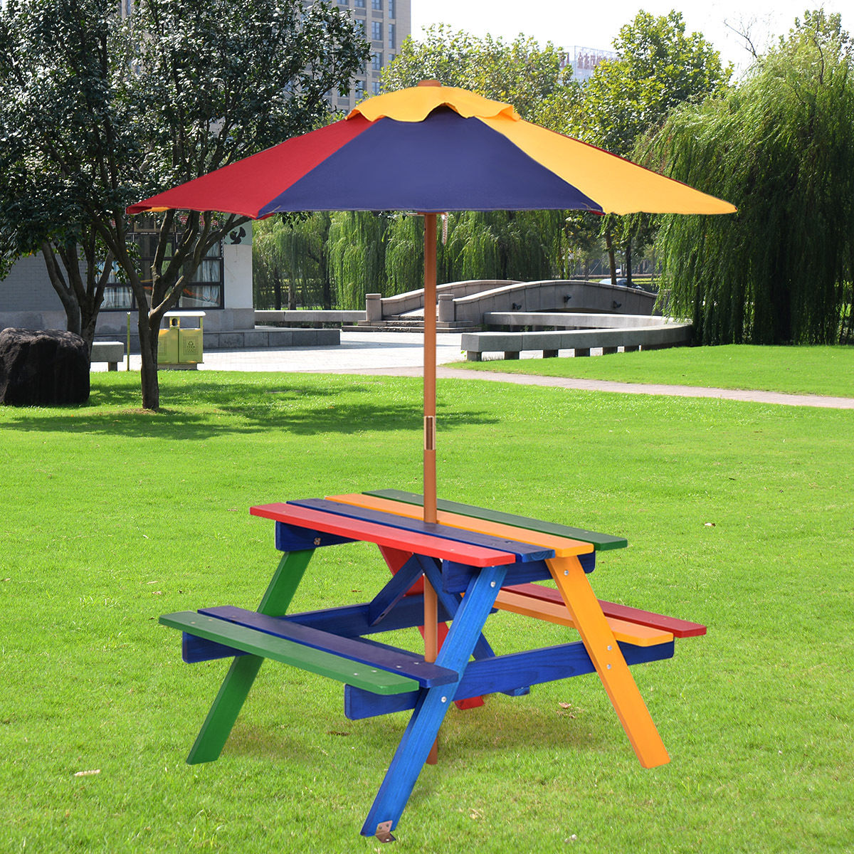Costway 4 Seat Kids Picnic Table w Umbrella Garden Yard Folding Children Bench Outdoor by Costway