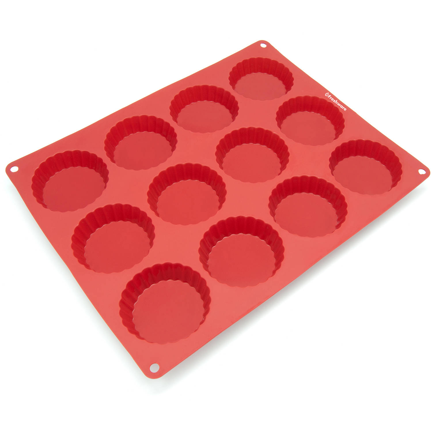 Freshware 12-Cavity Tart Silicone Mold for Quiche, Pastry, Pie and Custard, CB-111RD