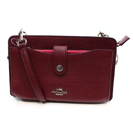 Coach New Burgundy Cerise Pop Up Pouch Small Leather Messenger Handbag