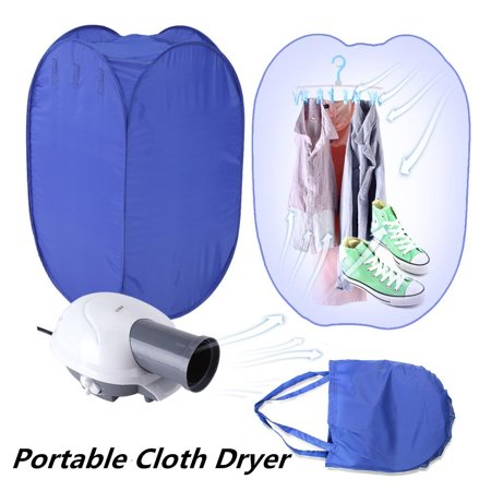 Yosoo Portable Clothes Dryer,Blue Mini Folding Ventless Electric Air Clothes Dryer Bag Folding Fast Drying Machine with Heater 110V US Plug (Portable Dryer Ventless)
