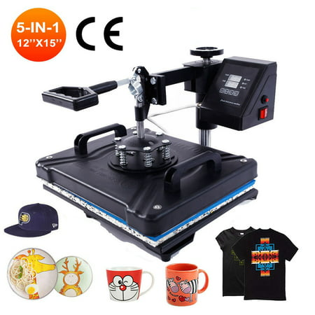 Zimtown Digital 5in1 Hot Heat Press Transfer Sublimation Machine for T-Shirt Cup Hat Mug Plate Cap Printing, Dual LCD