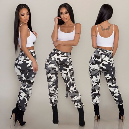 Jeans Women Camo Cargo Trousers Casual Pants Military Army Combat Camouflage