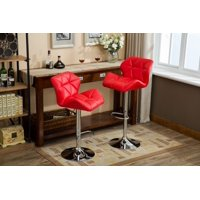 Roundhill Furniture Glasgow Contemporary Tufted Adjustable Height Hydraulic Bar Stools, Set of 2, Black