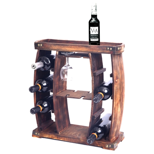 Rustic Wooden Wine Rack With Glass Holder 8 Bottle Decorative Wine