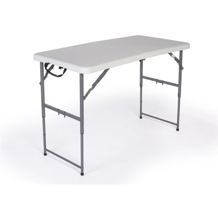 Adjustable Height Four (Adjustable Height Folding Table, 4 Foot, Adjusts From 26-32 Inches, Folds In Half, White Plastic (ADJRCTB48) )