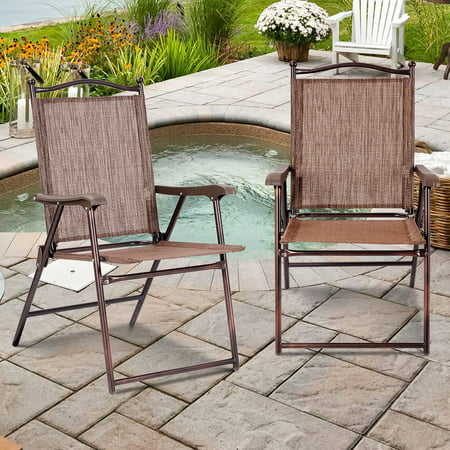 Gymax Set of 2 Folding Patio Furniture Sling Back Chairs Outdoors brown ()