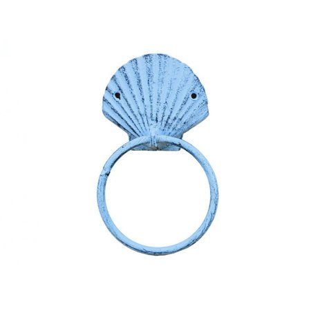 Rustic Dark Blue Whitewashed Cast Iron Seashell Towel Holder 8.5