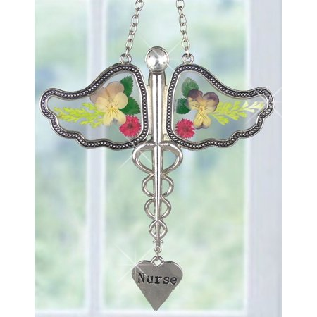 Found Metal Charms Wings - Nurse Caduceus Suncatcher with Real Pressed Flowers in Glass Wings and Silver Metal Engraved Heart Shaped Charm - Gifts for Nurses - Nurse Practitioners -.., By Banberry Designs