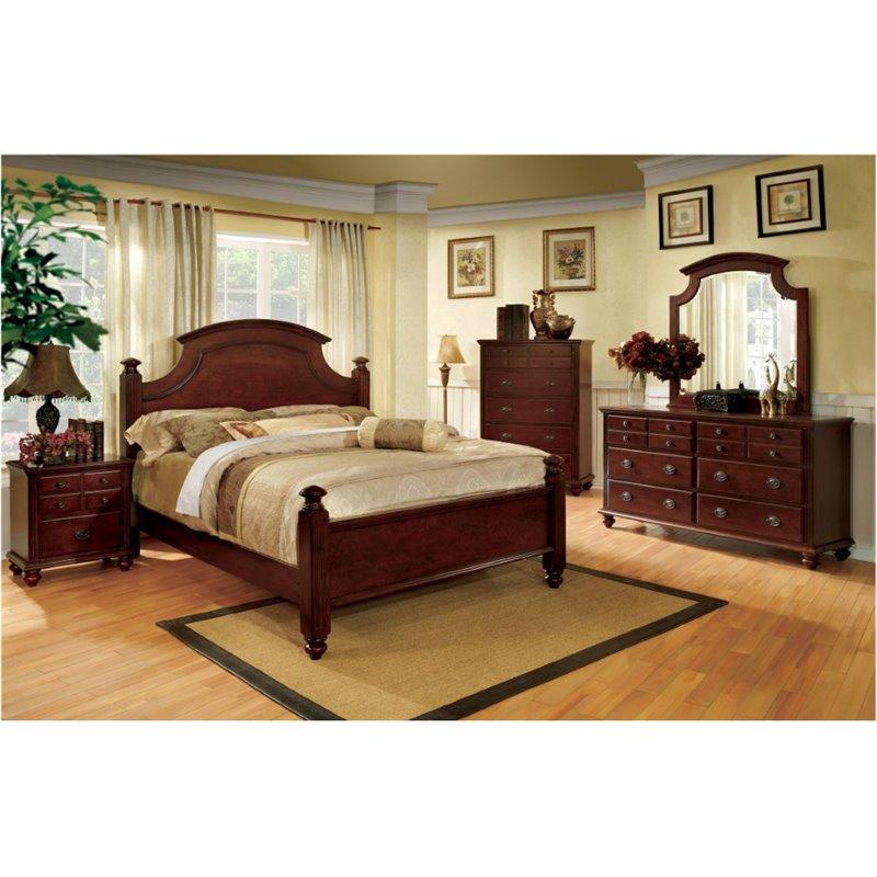 Furniture Of America Dryton 4 Piece Queen Bedroom Set In Cherry