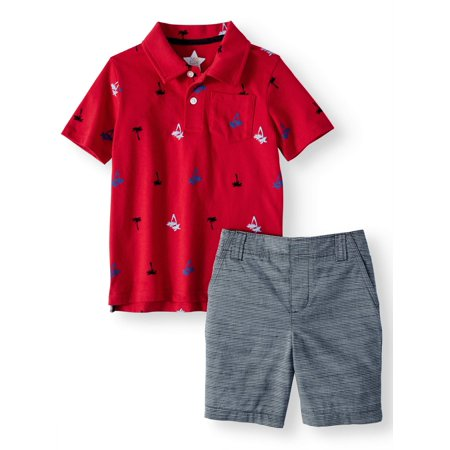 Polo Shirt & Woven Shorts, 2-Piece Outfit Set (Little Boys & Big Boys) - Kids Cat Outfit