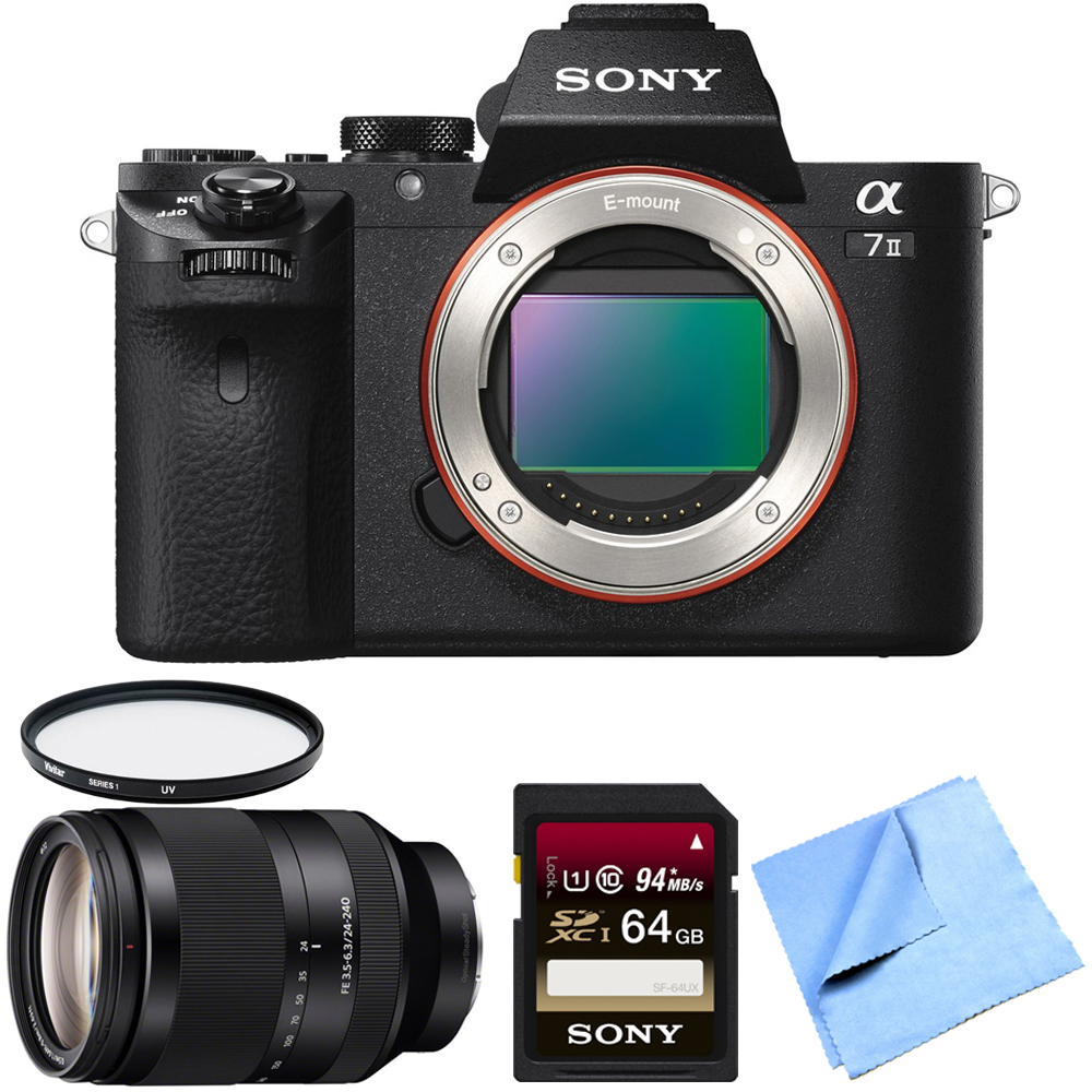 Sony Alpha a7II Full Frame Mirrorless Interchangeable Lens Camera Body with Sony SEL 24-240 Full Frame Lens, High Speed 64GB Class 10 Card, UV Filter