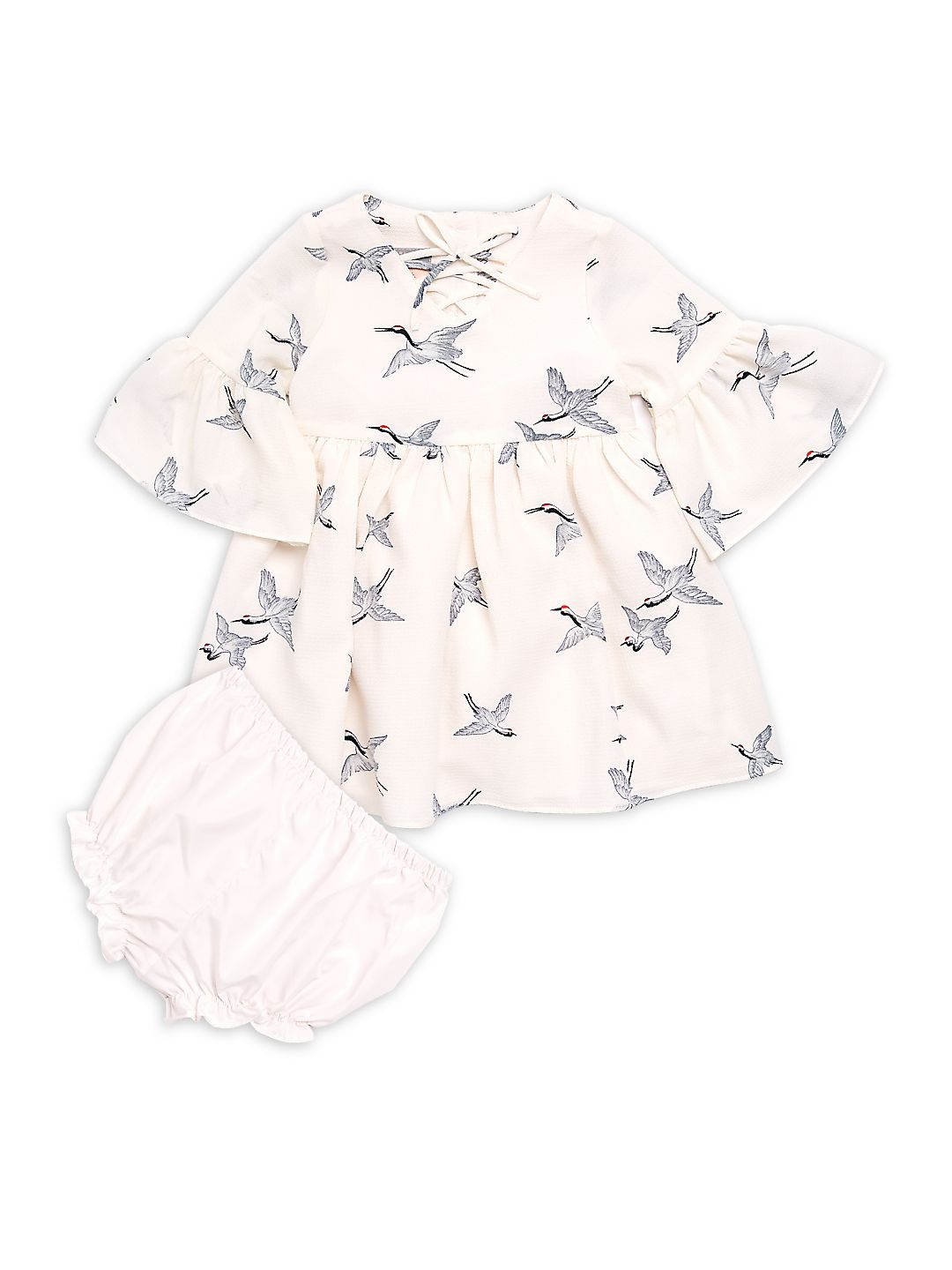 Baby Girl's Two-Piece Bird-Print Dress and Bloomers Set