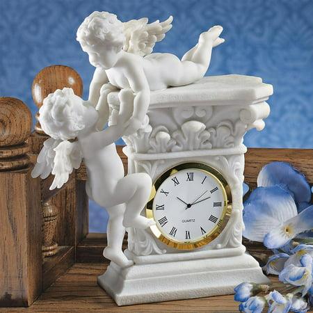 Cherub Table Clock (Baroque Twin Cherubs Bonded Marble Desktop Clock )
