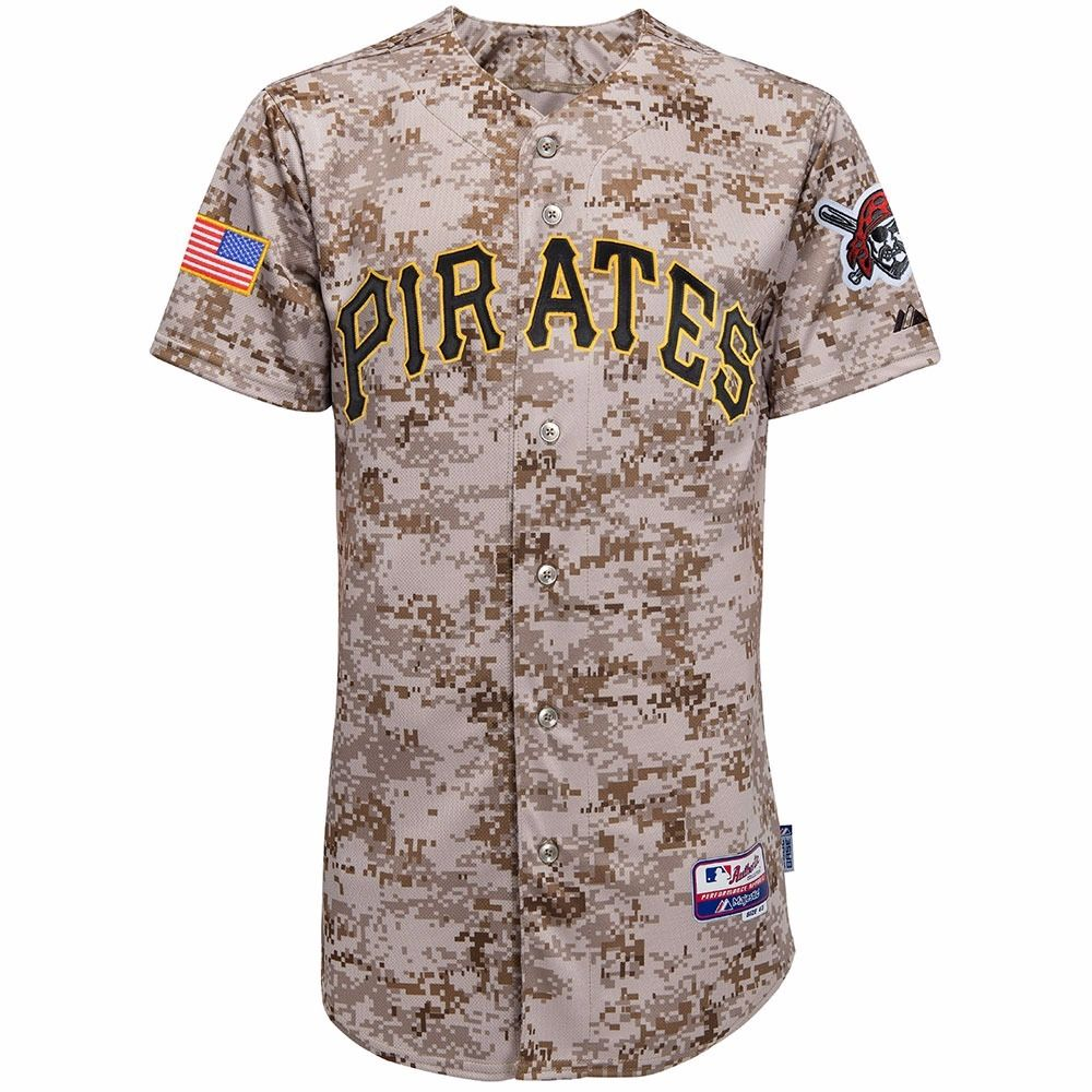Pittsburgh Pirates MLB Majestic Men's Camo Authentic On-Field Cool Base Jersey