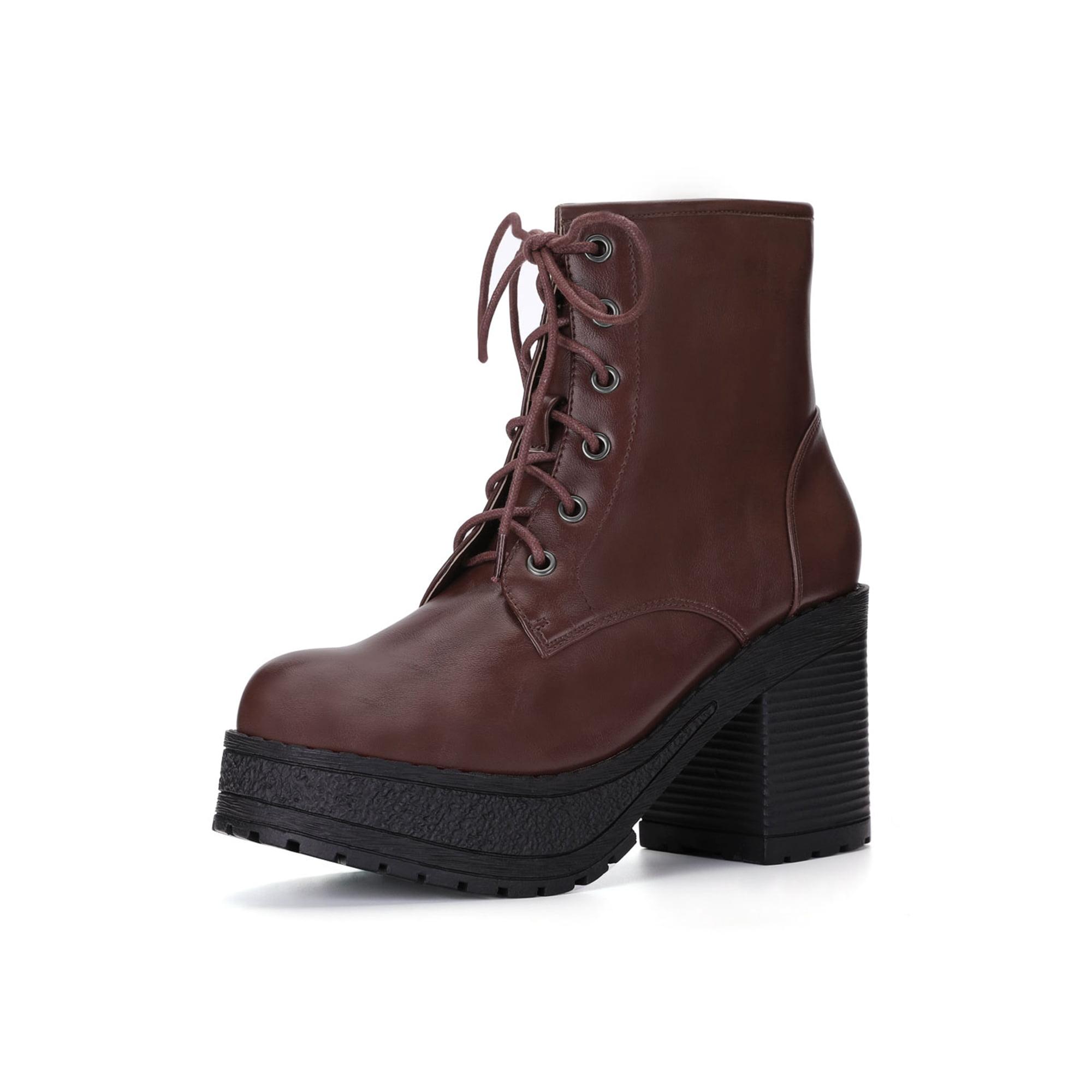 0ed21c349e04e Unique Bargains Women s Lace Up Platform Chunky Heel Ankle Combat Boots  Coffee Color (Size 7.5)