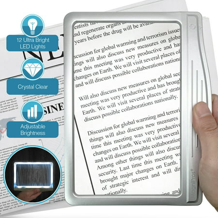 MagniPros Ultra Slim & Lightweight Book Light Led Page Magnifier-Large Viewing Area Magnifies up to 300%](Magnifying Glasses For Sale)