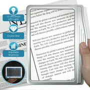 MagniPros Ultra Slim & Lightweight Book Light Led Page Magnifier-Large Viewing Area Magnifies up to 300%